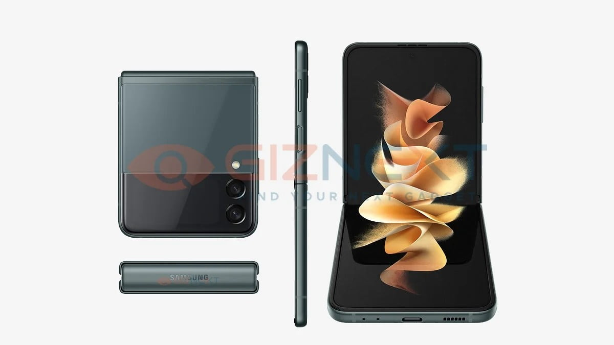A leaked render of the Galaxy Z Flip 3 5G