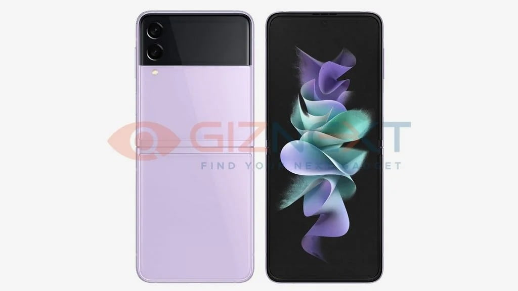 A leaked render of the Galaxy Z Flip 3 5G in pink
