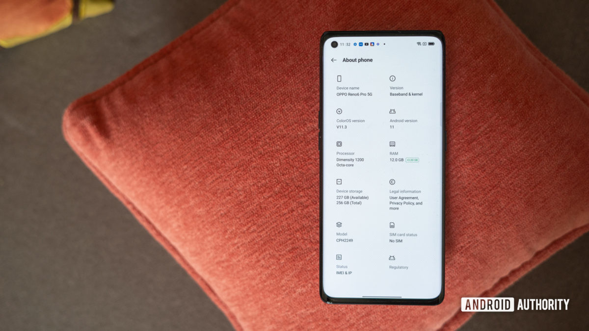 Oppo Reno 6 Pro review top down about page