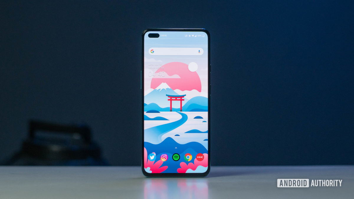 The OnePlus Nord screen front angle