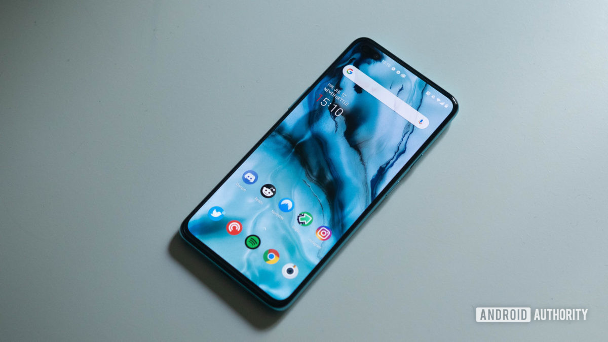 The OnePlus Nord angled view of the home screen on a table