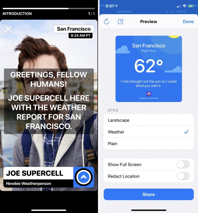 CARROT Weather Gains Weather Report Videos and Smart Layouts