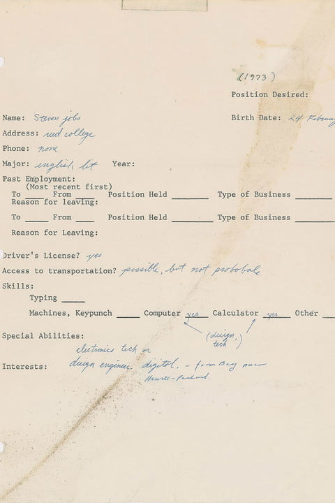 Steve Jobs' 1973 job application is now in an unusual auction