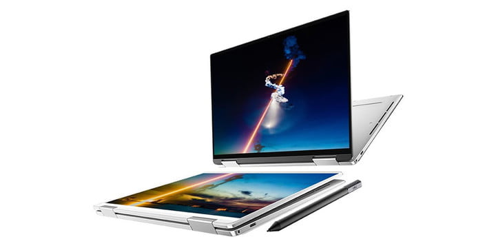 Dell XPS 13 2-in-1 laptop demonstrating tablet functionality.