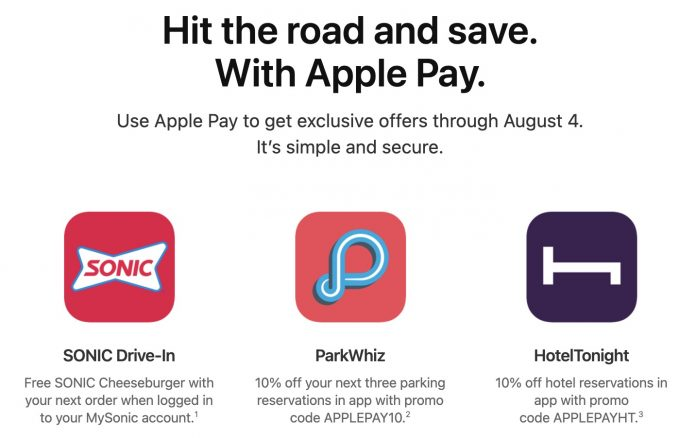 Apple Pay Promo Offers Discounts for SONIC, HotelTonight, and ParkWhiz