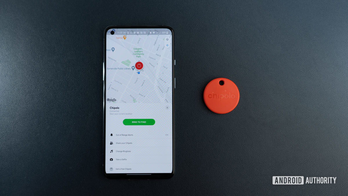 A picture of the tracker and its companion app