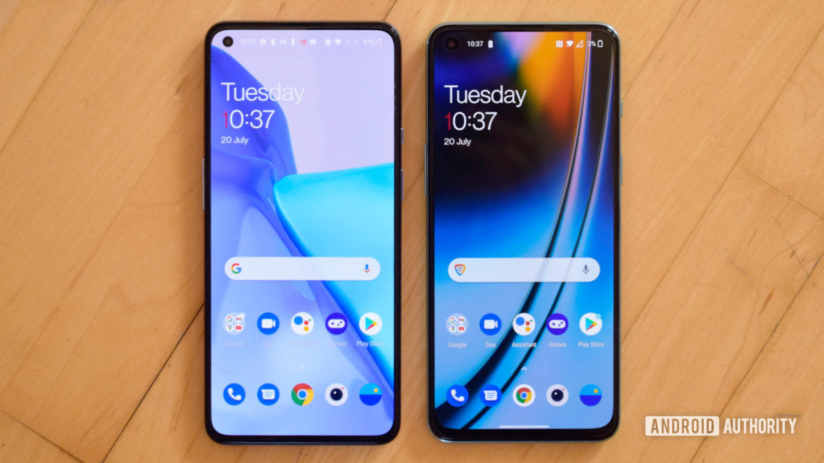 OnePlus Nord 2 vs OnePlus 9 smartphones from the front.