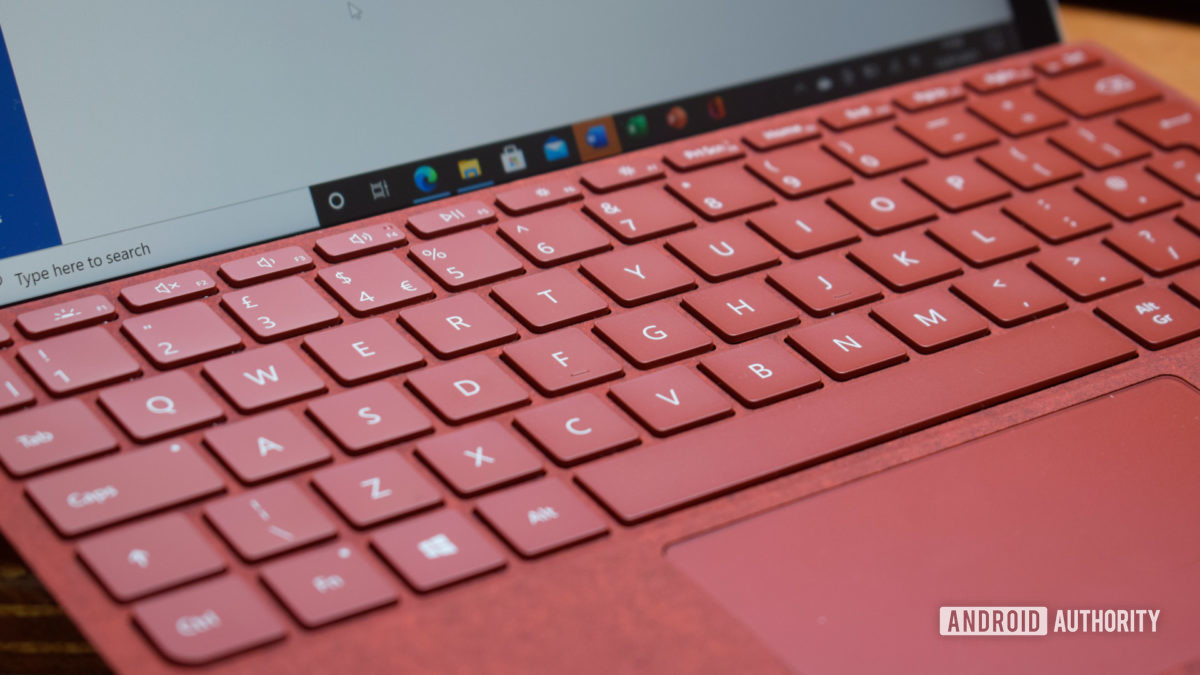 Close up of a red Microsoft Surface Go 2 Type Cover keyboard