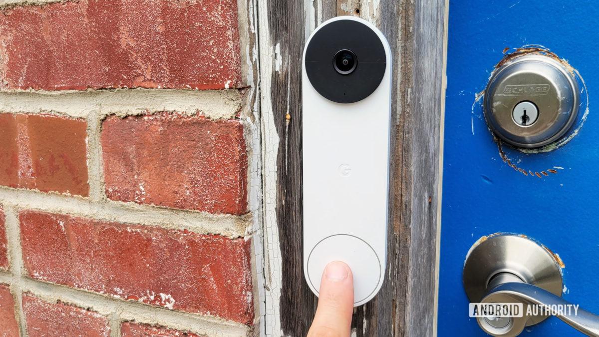 Google Nest Doorbell Review Pushing Doorbell
