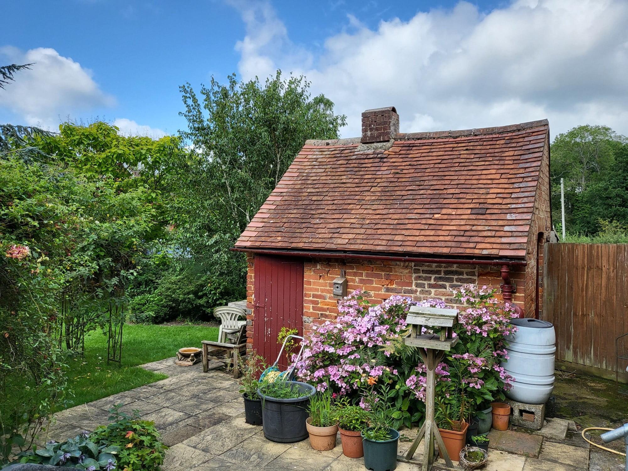 Photo of a garden taken with the Galaxy Z Flip 3.