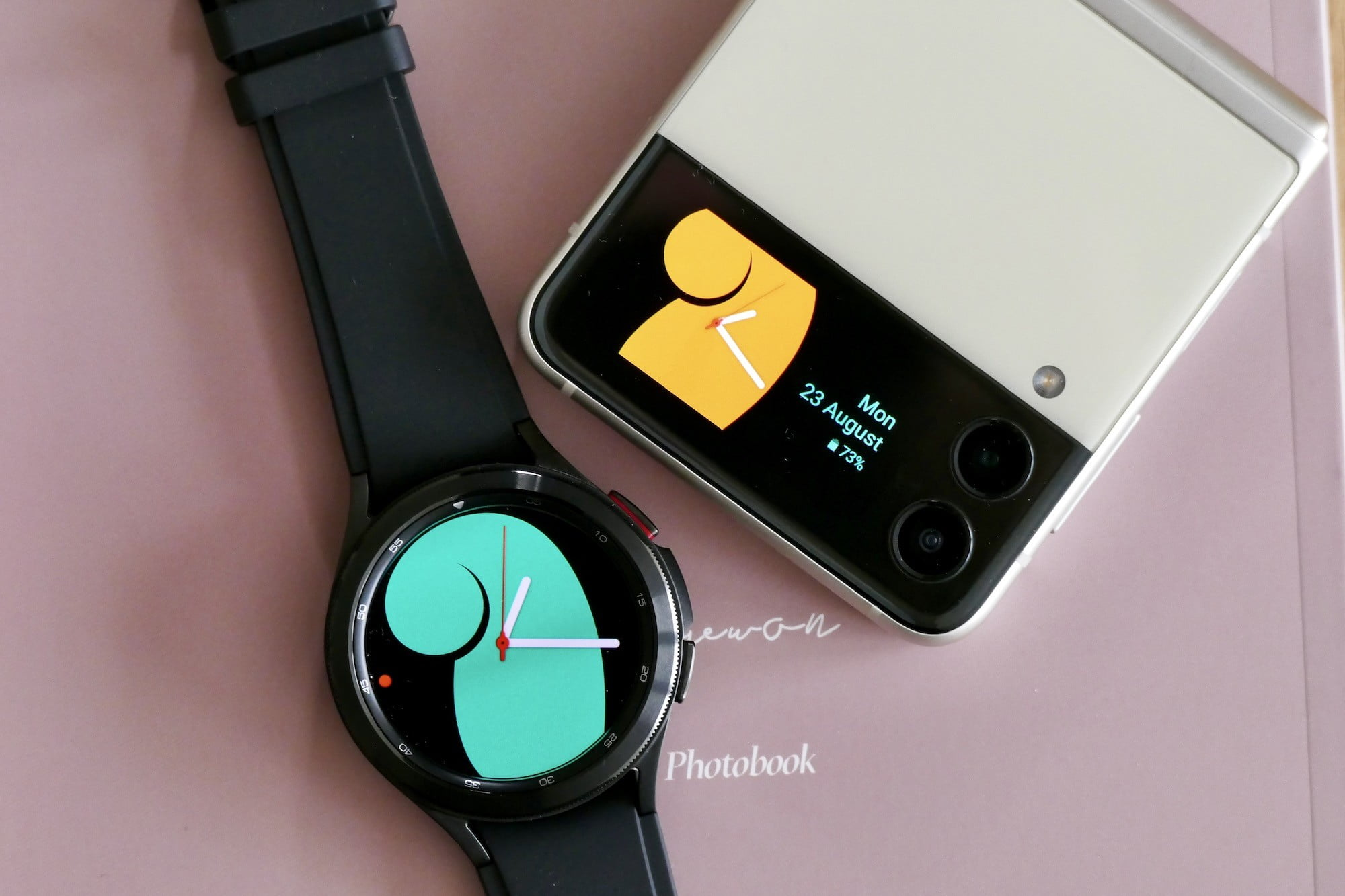 Galaxy Z Flip 3's Cover Screen with Galaxy Watch 4 Classic.