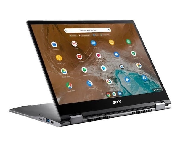 Acer Chromebook Spin 713 2-in-1 Laptop propped up with screen on.