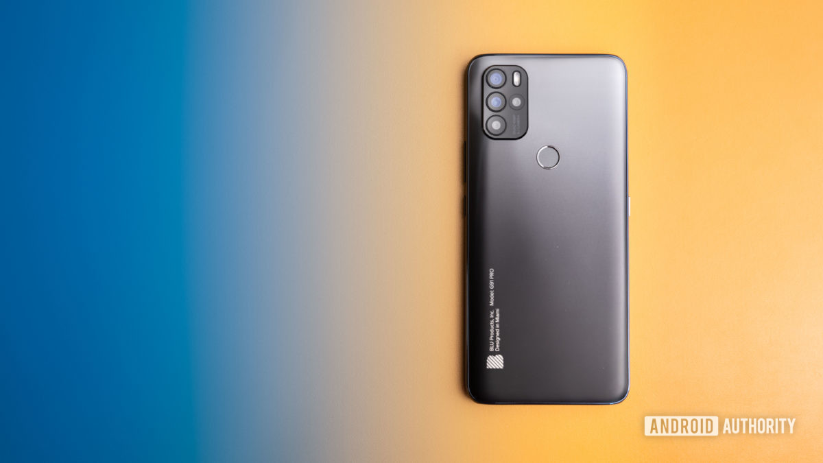 Blu G91 Pro sitting on a yellow and blue background