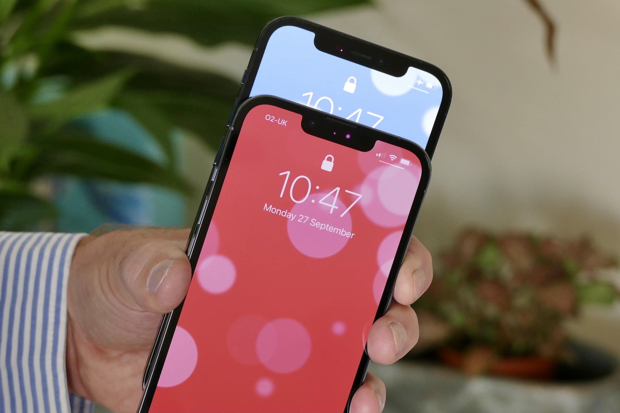 iPhone 13 Pro's smaller notch compared to the iPhone 12 Pro's larger notch.