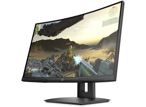 HP x24c Curved gaming monitor with game scene on the screen, on a white background.